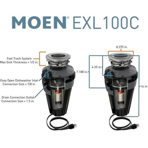 EX Series 1 Horsepower Lighted Garbage Disposal