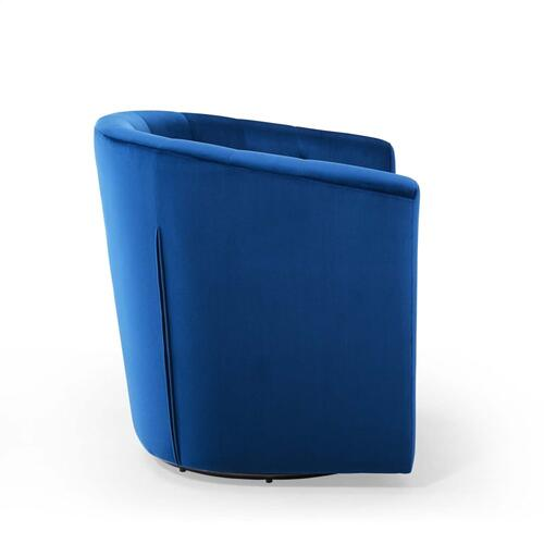 Prospect Tufted Performance Velvet Swivel Armchair in Navy