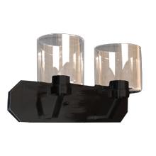 Paris 2-Light Vanity- Matte Black Finish- Clear Cylinder Glass