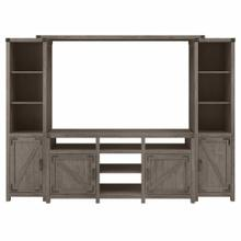 See Details - 65W Farmhouse TV Stand with Shelves Entertainment Center, Restored Gray