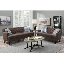 Amalia 2pc Loveseat & Sofa Set, Dark-brown-velvet