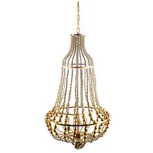 "Lafontaine (22""x39.5"") Gold Metal Wooden Bead Three Bulb Chandelier"