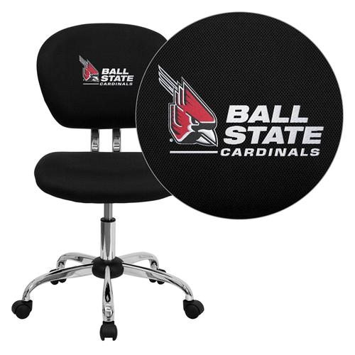 Ball State University Cardinals Embroidered Black Mesh Task Chair with Chrome Base