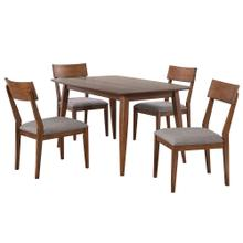 Product Image - Dining Table Set w/Padded Performance Fabric Chairs - Mid Century (5 Piece)