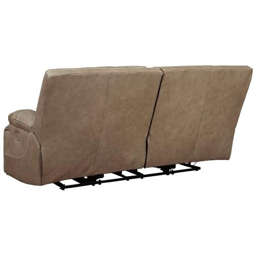Power Leather 2 Seat Reclining Sofa with Adjustable Headrest