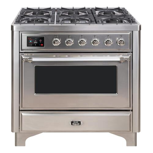 Majestic II 36 Inch Dual Fuel Natural Gas Freestanding Range in Stainless Steel with Chrome Trim