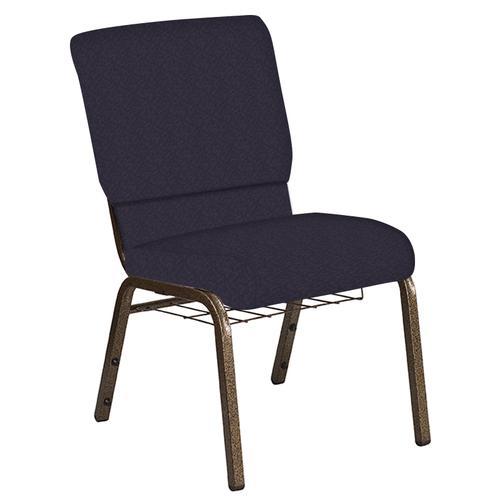 Flash Furniture - 18.5''W Church Chair in Bonaire Duke Fabric with Book Rack - Gold Vein Frame