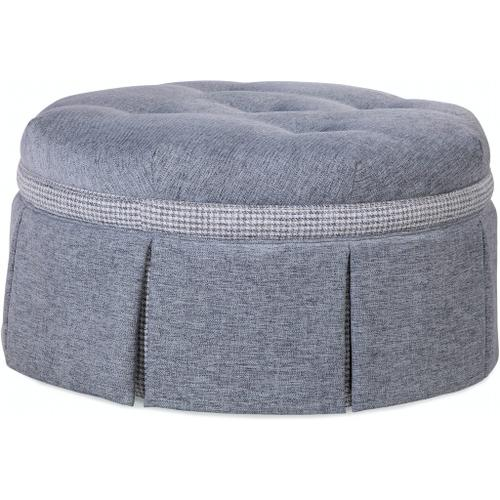 """Braxton Culler Inc - Downing 32"""" Round Cocktail Ottoman with Contrast Band and Casters"""