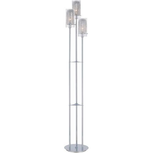 3-lite Floor Lamp, Chrome W/clr Glass&alu Accent,e12 B 40wx3