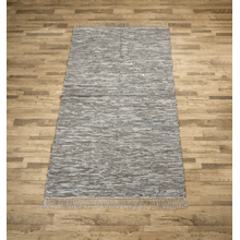 See Details - Grey Leather Chindi 5x8 Rug (Each One Will Vary)