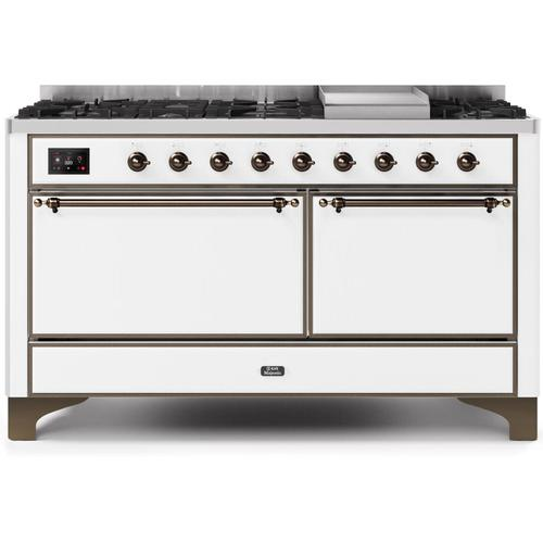 Majestic II 60 Inch Dual Fuel Natural Gas Freestanding Range in White with Bronze Trim