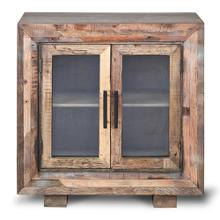HUGHES CABINET  Natural Finish on Reclaimed Wood with Plain Glass  2 Door