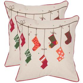 Holiday Stockings Pillow - Beige / Red