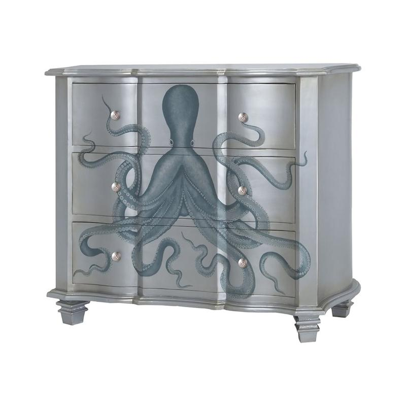 Gorgon 3-drawer Chest In Silver Leaf and Blue With Octopus Motif