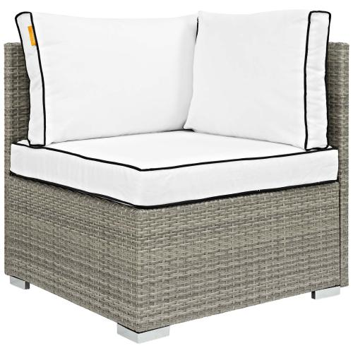 Repose 7 Piece Outdoor Patio Sectional Set in Light Gray White