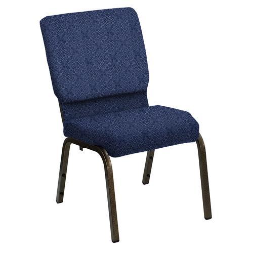 Flash Furniture - HERCULES Series 18.5''W Church Chair in Faith Blue Fabric - Gold Vein Frame