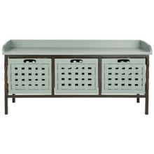 Isaac 3 Drawer Wooden Storage Bench - Dusty Green