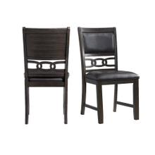 Amherst Standard Height Faux Leather Side Chair Set in Walnut