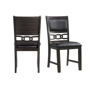 See Details - Amherst Standard Height Faux Leather Side Chair Set in Walnut