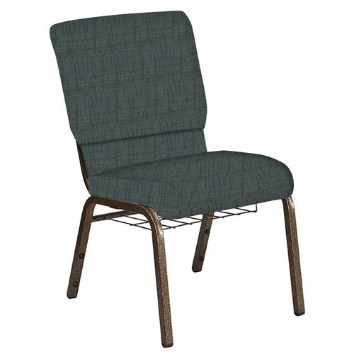 Flash Furniture - 18.5''W Church Chair in Amaze Azure Fabric with Book Rack - Gold Vein Frame