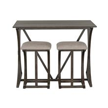 Amberleigh Folding Bar Table and Two Stools Set, Brown