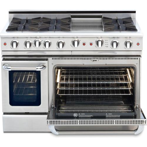 """Capital - 48"""" Gas Self Clean, Rotisserie, 6 Open Burners, 12"""" Thermo-Griddle"""