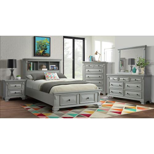 Calloway Full Storage Bookcase Bed with USB in Gray