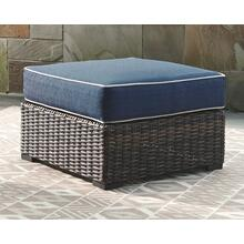 Grasson Lane Ottoman with Cushion Brown/Blue