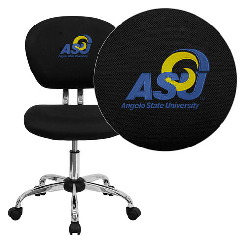 Angelo State University Rams Embroidered Black Mesh Task Chair with Chrome Base
