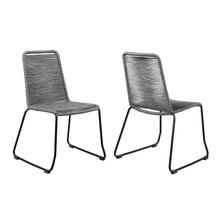 Shasta Outdoor Metal and Grey Rope Stackable Dining Chair - Set of 2