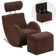 HERCULES Series Brown Fabric Rocking Chair with Storage Ottoman