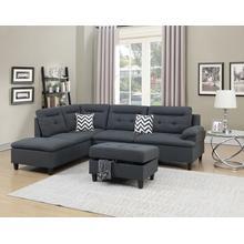 Aerli 3pc Sectional Sofa Set, Charcoal