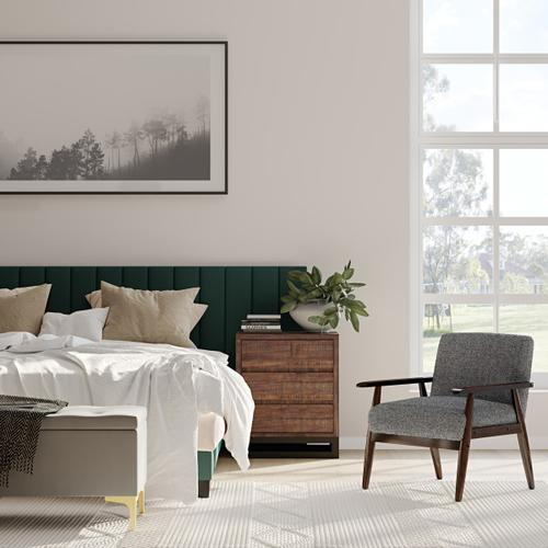 Accentrics Home - 42 Inch Hinged Top Storage Bench w/ Grid-Tufted Seat in Charcoal