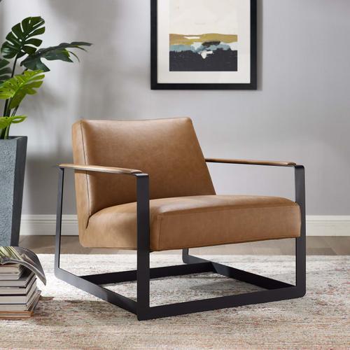 Seg Vegan Leather Upholstered Vinyl Accent Chair in Tan