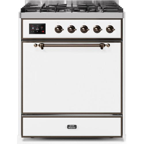 Majestic II 30 Inch Dual Fuel Natural Gas Freestanding Range in White with Bronze Trim