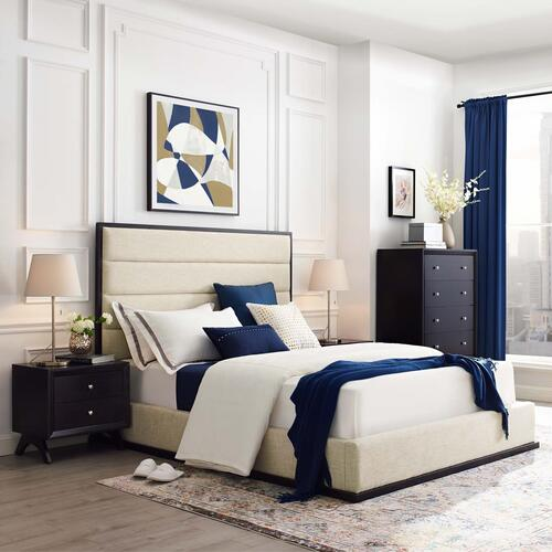 Modway - Ashland Queen Upholstered Linen Fabric Platform Bed in Beige