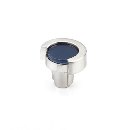 "Tallmadge, Knob, Round, 1-1/4"" dia, Satin Nickel, Steel Blue Glass"