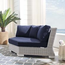Conway Sunbrella® Outdoor Patio Wicker Rattan Round Corner Chair in Light Gray Navy