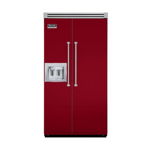 """Viking - Apple Red 42"""" Quiet Cool™ Side-by-Side with Dispenser - VISB Tru-Flush™ (42"""" wide)"""