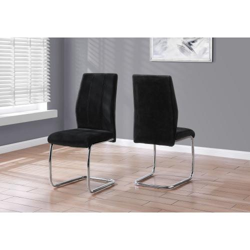 "DINING CHAIR - 2PCS / 39""H / BLACK VELVET / CHROME"