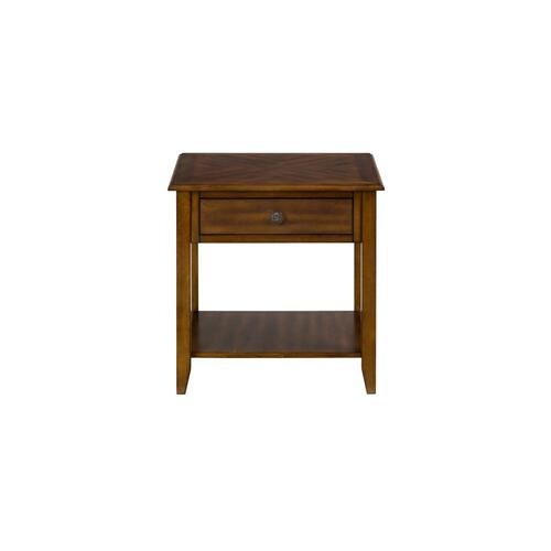 End Table W/one Drawer, One Shelf and Round Antique Bronze Floret Hardware