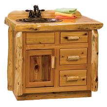 Vanity with Top - 36-inch - Natural Cedar - Sink Right - Liquid Glass