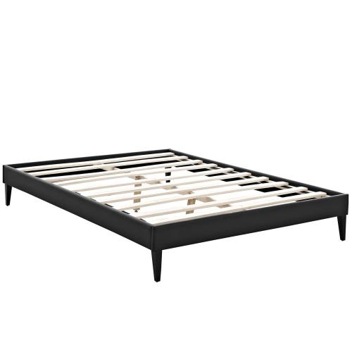 Tessie Queen Vinyl Bed Frame with Squared Tapered Legs in Black