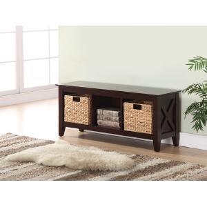 Accentrics Home - Farmhouse Style 2 Basket Storage Bench