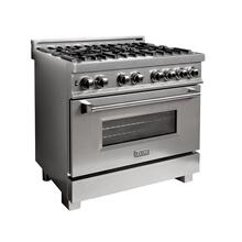 ZLINE 36 in. Professional Dual Fuel Range in DuraSnow® Stainless with DuraSnow® Stainless Door (RAS-SN-36)