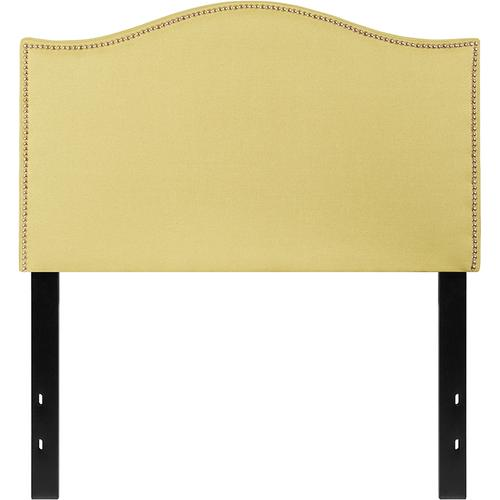 Lexington Upholstered Twin Size Headboard with Accent Nail Trim in Green Fabric
