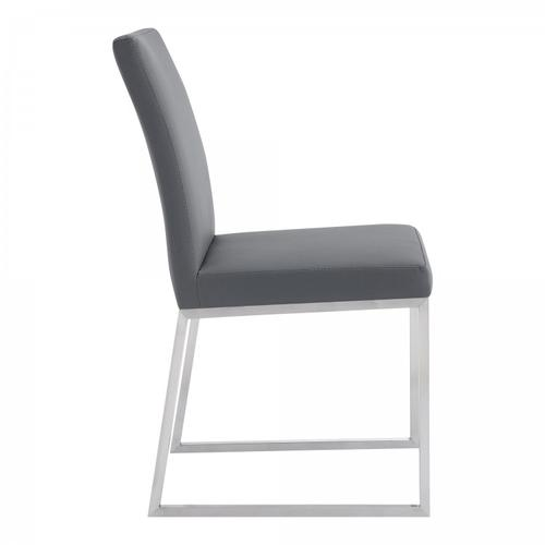 Trevor Contemporary Dining Chair in Brushed Stainless Steel and Grey Faux Leather - Set of 2