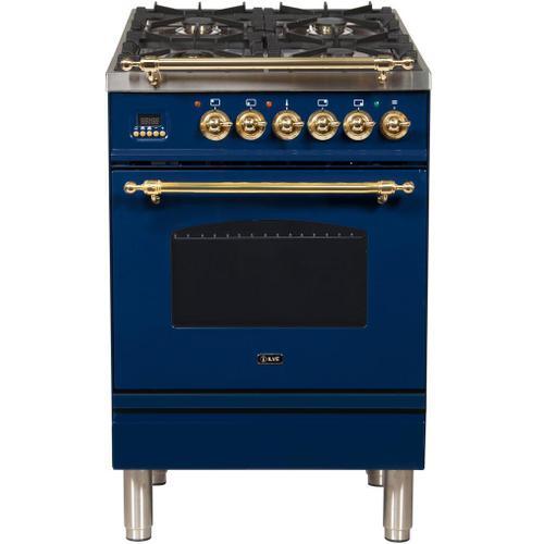 Nostalgie 24 Inch Dual Fuel Liquid Propane Freestanding Range in Blue with Brass Trim