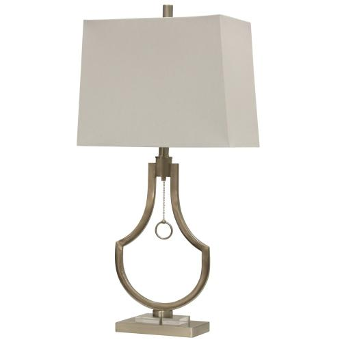 Product Image - Brushed Steel  Metal & Clear Acrylic Contemporary Table Lamp with Single Ring Pull Chain