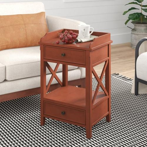Accentrics Home - Two Drawer X Side End Table in Terracotta Orange